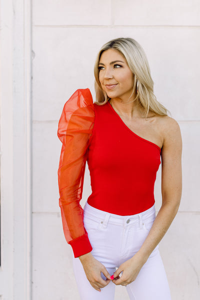 Not Yours Puff Sleeve Bodysuit- Red