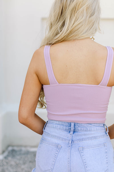 Your New Favorite Ribbed Crop Top- Lavender Frost
