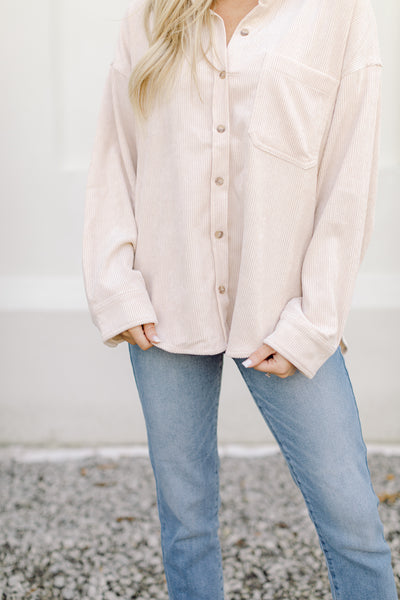 Sweet Cream Corduroy Pocket Shirt