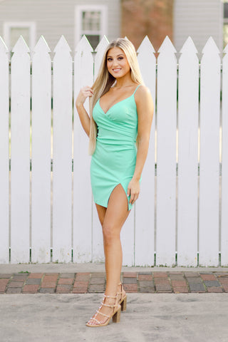 Caught Ya Staring High Slit Mini Dress, Mint