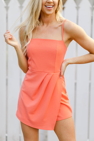 Let's Go Girls Romper, Grapefruit