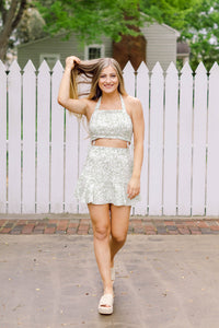 Summer Date Night Floral Halter Top, Sage & White