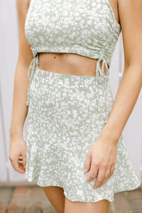 Summer Date Night Floral Skirt, Sage & White