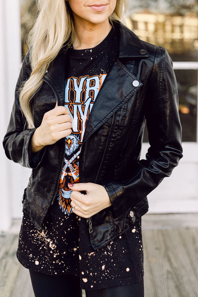 Not Your Girl Faux Leather Moto Jacket- Black