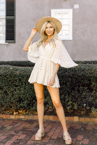 Free As A Bird Cream Romper