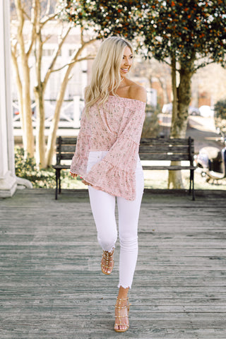It's A Spring Fling Pink Off Shoulder Top