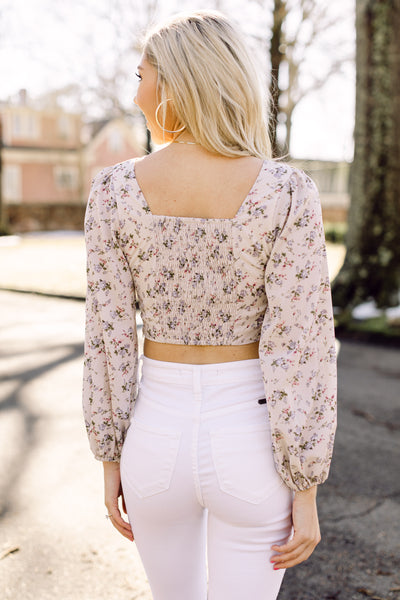 She's A Natural Beige Floral Top