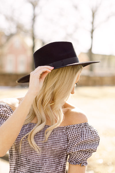 The Perfect Wide Brim Hat- Black