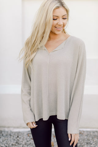 Meet You There Waffle Knit Top- Matcha