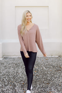 Meet You There Waffle Knit Top- Clay