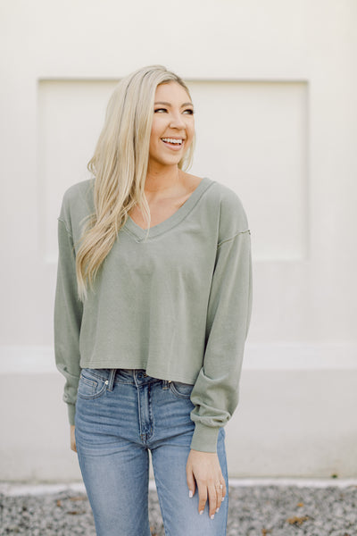 Cool Again Basic Top- Olive