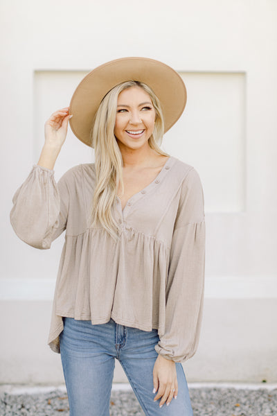 Easy Does It Babydoll Top- Taupe