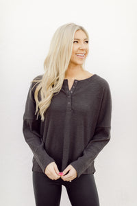 Go For It Charcoal Henley