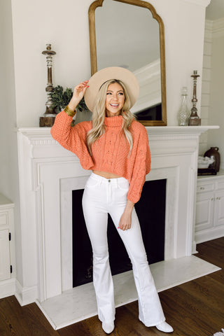 Making Me Blush Cropped Sweater- Coral