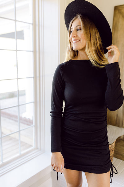 Kinda Into It Black Ruched Bodycon Dress