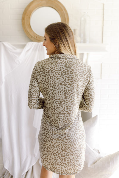 Wild About You Leopard PJ Dress-Olive