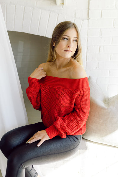 Read My Lips Off Shoulder Sweater- Red