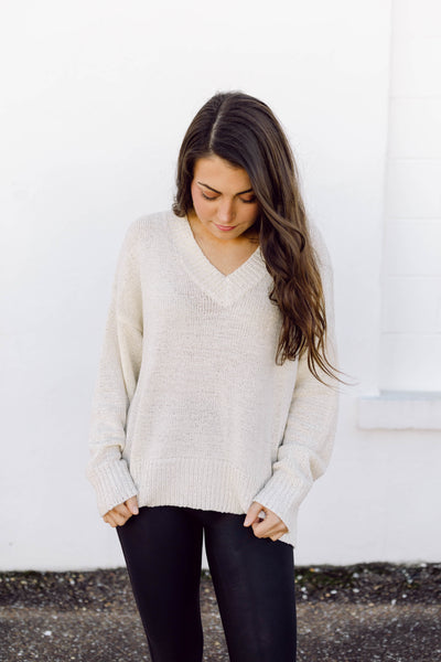 Keepin' It Simple Cream Knit Sweater