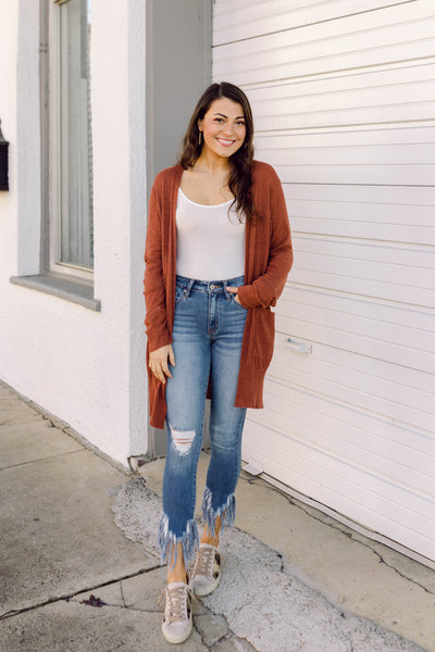 Pull You Close Lightweight Cardigan- Rust