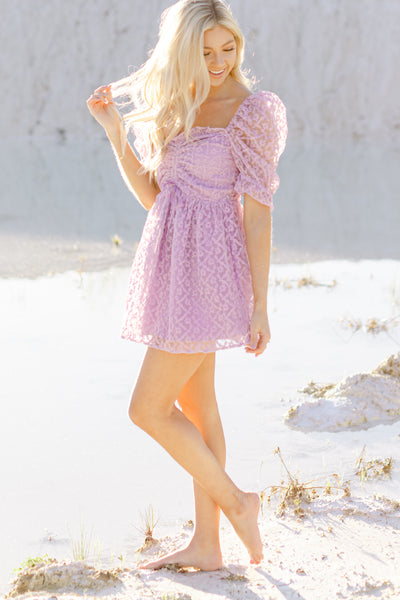 Buddy Love Colby Puff Sleeve Mini Dress, Lavender