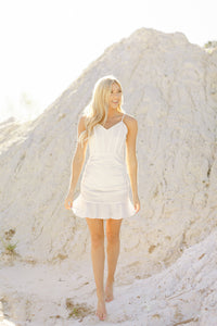 You're The One Ruched Ruffle Dress, White