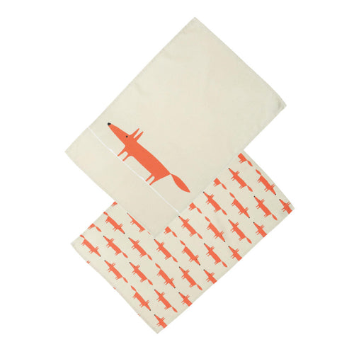 Mr Fox Set of 2 Tea Towels - Stone