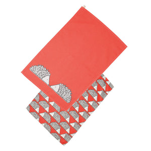 Spike Set of 2 Tea Towels - Red
