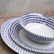 Load image into Gallery viewer, Indigo Drop Dinnerware Set 12 Pieces