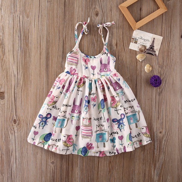 Cartoon Animal Party Dress - 2T-6