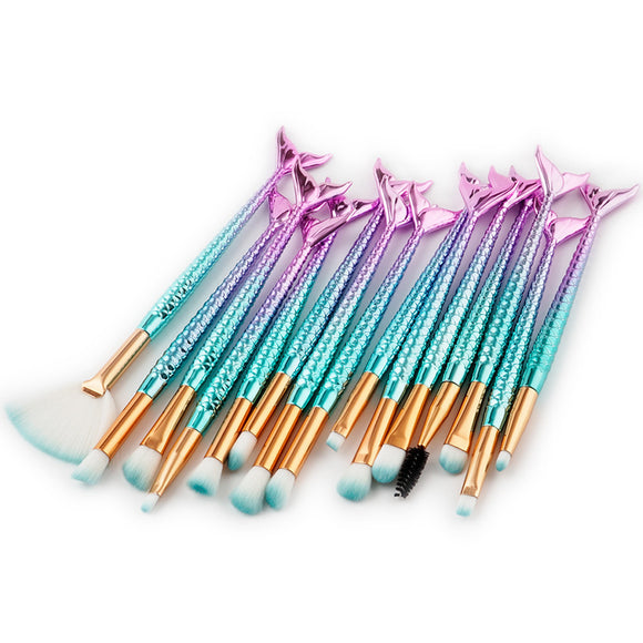 Mermaid 15pc Makeup Brush Set