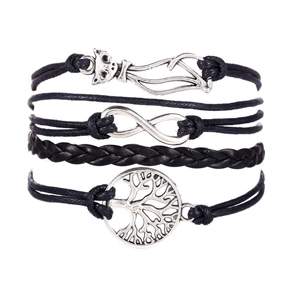 Cat Tree Multilayer Knit Leather Rope Charm Bracelet