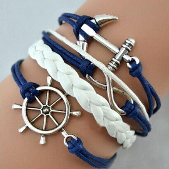 Handmade Anchor Charm Multilayer Bracelet