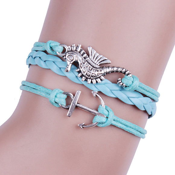 Turquoise Leather Anchors Charm Bracelet Bronze DIY