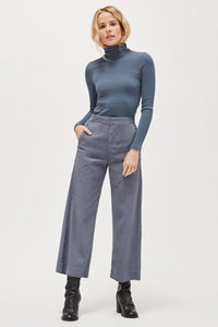 LACAUSA - Sweater Rib turtleneck in Steel