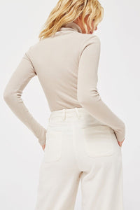 LACAUSA - Sweater Rib turtleneck in Panna Cotta
