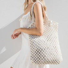 Load image into Gallery viewer, The Beach People - Macrame Tote crochet Bag in Natural white