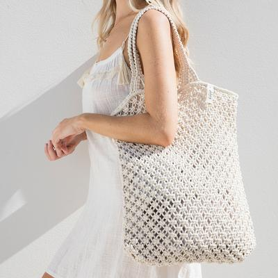The Beach People - Macrame Tote crochet Bag in Natural white