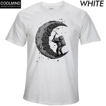 Load image into Gallery viewer, 100% cotton digging the moon print casual mens o-neck t shirts fashion men's tops men T-shirt short sleeve men tshirt 2017