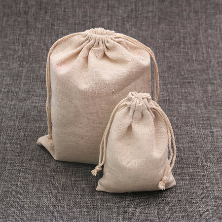 50pcs Natural Cotton Bags with Drawstring