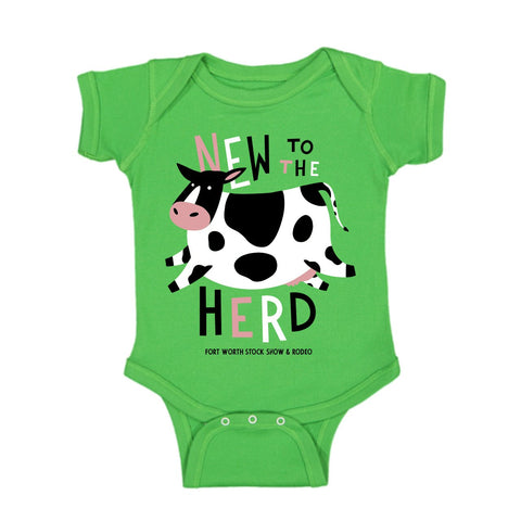 New To The Herd Green Onesie - Front