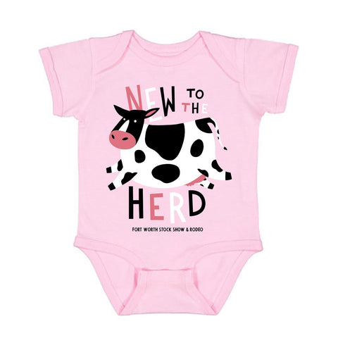 New To The Herd Pink Onesie - Front