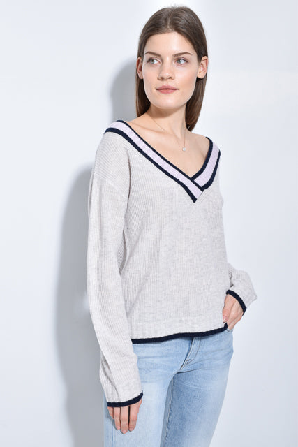 The Varsity V Sweater in Wild Dove