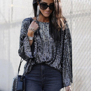 O-neck Lantern Sleeve Elegant Sequin Tops Blouse