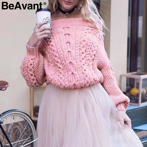Knitted Off Shoulder Batwing Sweater