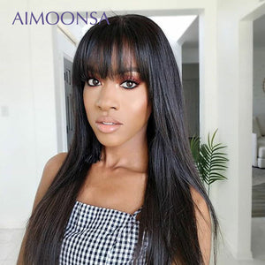 100% Human Hair with Bangs 360 Lace Frontal Wig