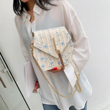 Hexagon Style Straw Lace Embroidery Bag