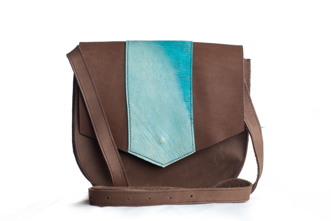 Two-Tone Satchel in Turquoise