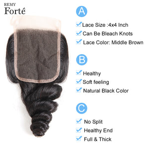 Remy Forte Loose Wave Bundles With Closure