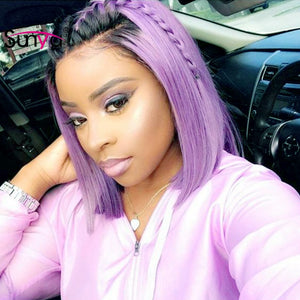 Purple  Short Bob Lace Front Wigs