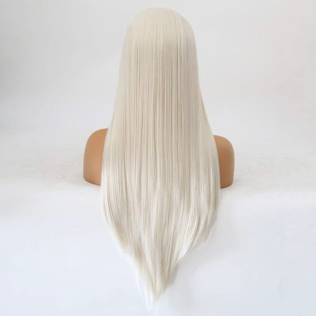 Rongduoyi  Platinum Blond Synthetic Lace Front Wigs